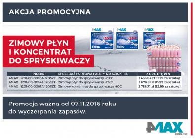 4MAX - zimowy płyn do spryskiwaczy i koncentrat - w palecie taniej