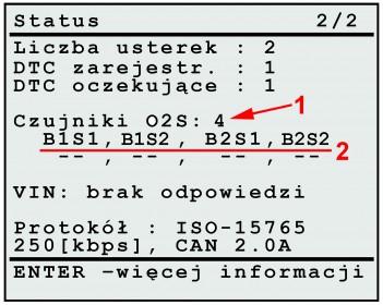 Odczyt informacji o ilości i oznaczeniach miejsc montażu czujników tlenu z systemu OBDII/EOBD