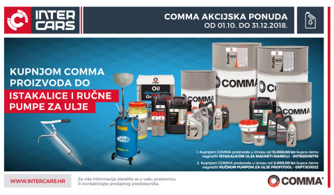 Kupnjom Comma proizvoda do istakalice i ručne pumpe za ulje