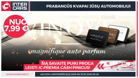 """Įsigykite """"VINOVE"""" automobilio kvepalus už IC PREMIA CASH pinigus"""