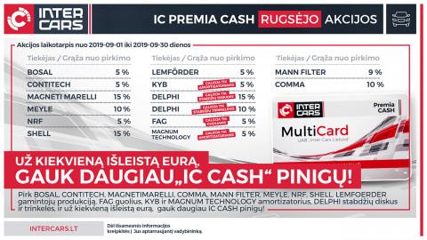 IC PREMIA CASH rugsėjo mėn. akcijos l. automobilių dalims