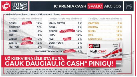 IC PREMIA CASH spalio mėn. akcijos l. automobilių dalims