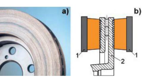 Rowki na powierzchni roboczej tarczy hamulcowej