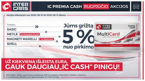 IC PREMIA CASH rugpjūčio mėn. akcijos l. automobilių dalims