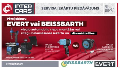 EVERT / BEISSBARTH vieglo automobiļu riepu montāžas vai riteņu balansēšanas iekārtu akcija ir noslēgusies!