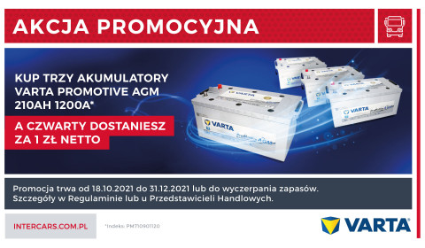 Kup 3 akumulatory VARTA ProMotive AGM 210Ah 1200A , a czwarty dostaniesz za 1 zł netto