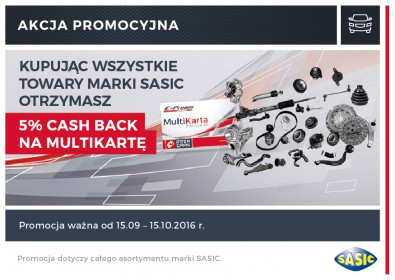 SASIC - 5% CASH BACK na MultiKartę